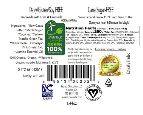Image of Gotcha Matcha Sacred Chocolate Heart Bars (12 Pack)