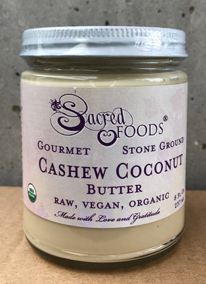 Stone Ground Organic Raw Cashew Coconut Butter 8 Fl Oz - Sacred Foods