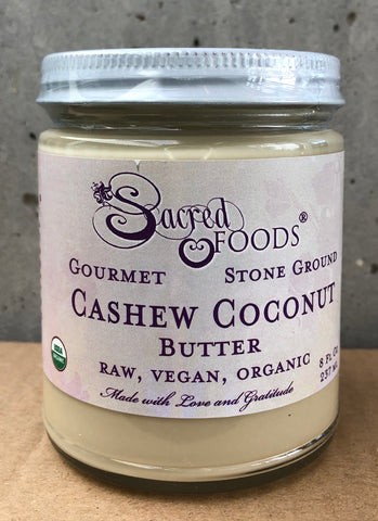 Stone Ground Organic Raw Combo Cashew-Coconut Butter 8 Fl Oz - Sacred Foods