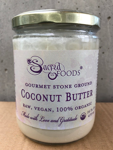 Image of Stone Ground Raw Organic Coconut Butter 16 Fl Oz - Sacred Foods
