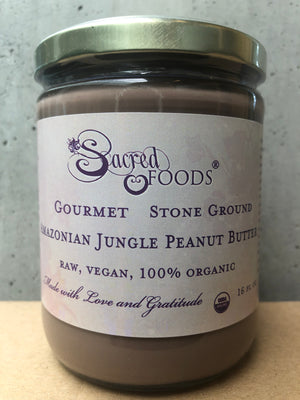 Stone Ground Organic Raw Amazonian Jungle Peanut Butter 16 Fl Oz - Sacred Foods
