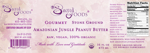 Image of Stone Ground Organic Raw Amazonian Jungle Peanut Butter 16 Fl Oz - Sacred Foods