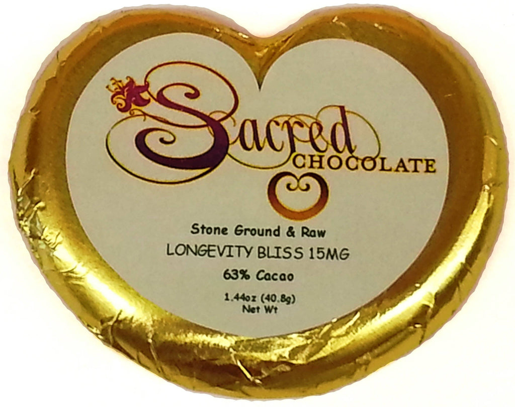 Longevity Bliss Sacred Chocolate Heart Bars (12 Pack)