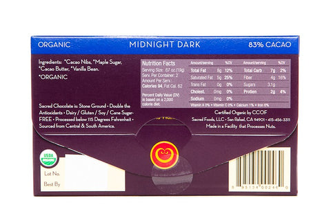 Image of Midnight Dark (83% Cacao) - 1.33oz (Rectangular) - Sacred Chocolate