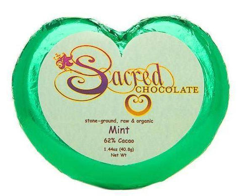 Image of Mint Sacred Chocolate Heart Bars (12 Pack)