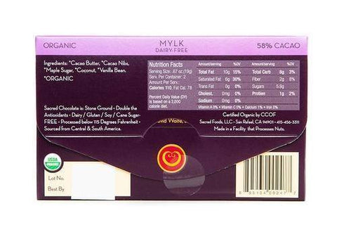 Mylk (Dairy Free 58% Cacao) - 1.33oz (Rectangular) - Sacred Chocolate