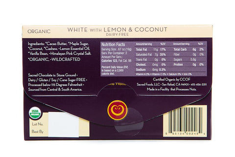 Image of White with Lemon & Coconut (Dairy FREE) - 1.33oz [Rectangle] - Sacred Chocolate