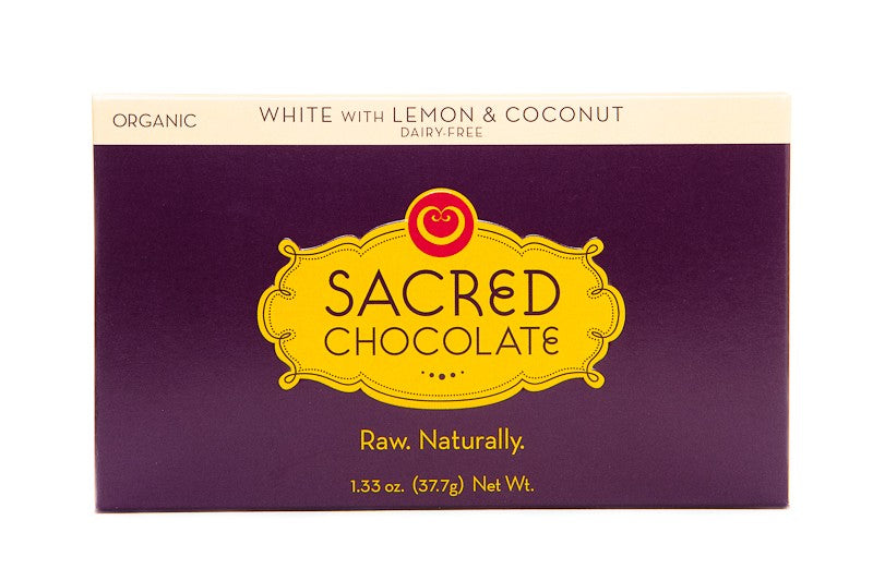 White with Lemon & Coconut (Dairy FREE) - 1.33oz [Rectangle] - Sacred Chocolate