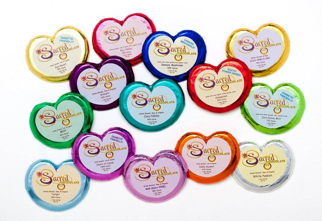 12 Mixed Sacred Chocolate Heart Bar Deal