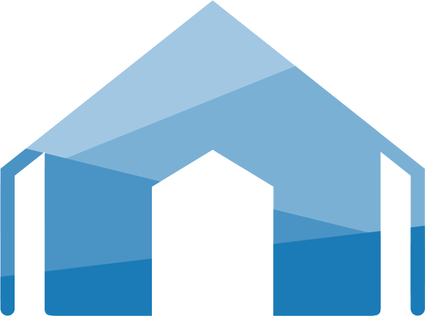 COVID-19 collection site represented as a blue shaded tent icon