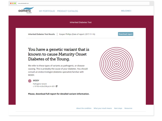 Discover if you have a genetic variant known to cause Maturity Onset of Diabetes of the Young.