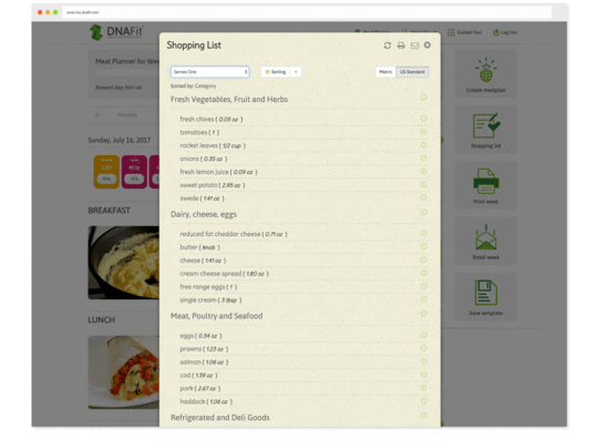 Create easy to use shopping lists based on your personalized meal plan.