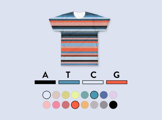 Customize your t-shirt by selecting a color to represent each of the four DNA bases.