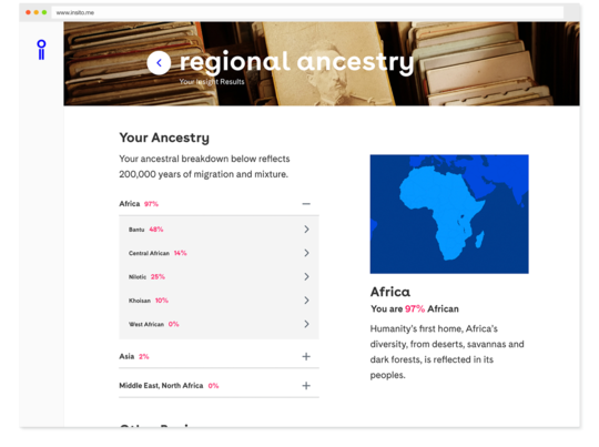 Personal insights right at your fingertips. Find out where your DNA falls among more than two dozen regional ancestry clusters.