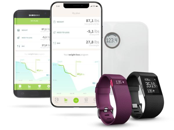 Monitor your daily food consumption and your diet goals on any device online (also available on Android & IOS). Sync your daily steps and workouts using any Fitbit tracker.