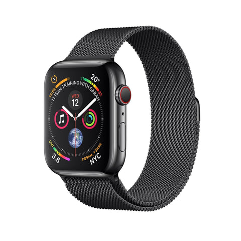 Apple Watch Series 4 (GPS + Cellular), 40mm Space Black Stainless Steel Case with Space Black Milanese Loop-MTVM2