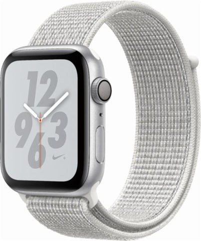 Apple Watch Nike+ Series 4 (GPS), 44mm Silver Aluminum Case with Summit White Nike Sport Loop-MU7H2