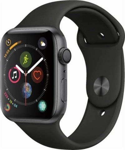 Apple Watch Series 4 (GPS), 44mm Space Gray Aluminum Case with Black Sport Band-MU6D2