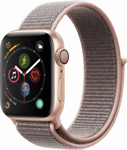 Apple Watch Series 4 (GPS + Cellular), 44mm Gold Aluminum Case with Pink Sand Sport Loop-MTVX2