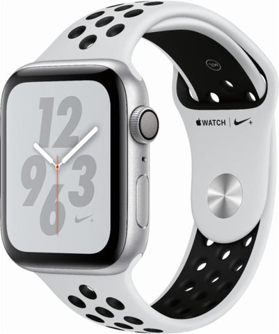 Apple Watch Nike+ Series 4 (GPS), 44mm Silver Aluminum Case with Pure Platinum/Black Nike Sport Band-MU6K2