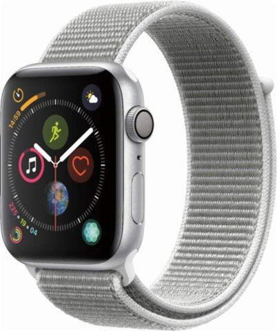 Apple Watch Series 4 (GPS), 40mm Silver Aluminum Case with Silver Sport Loop-MU652