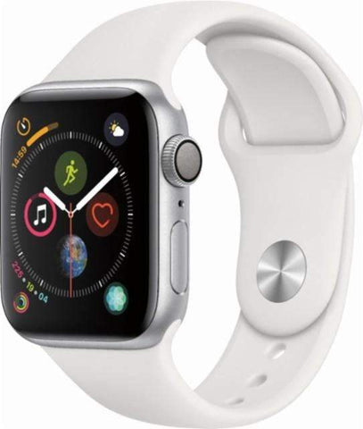 Apple Watch Series 4 (GPS), 40mm Silver Aluminum Case with White Sport Band-MU642