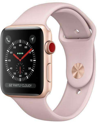Apple Watch Series 3 - 38mm Gold (GPS + CELLULAR-MQJQ2) Aluminum Case with Pink Sand Sports Band