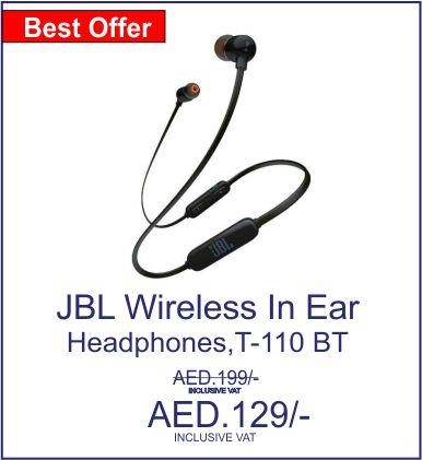 JBL Wireless In Ear Headphones, Black,Blue - T-110 BT