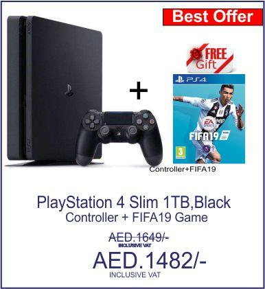 Sony PlayStation 4 Slim - 1TB, 1 Controller,FIFA19