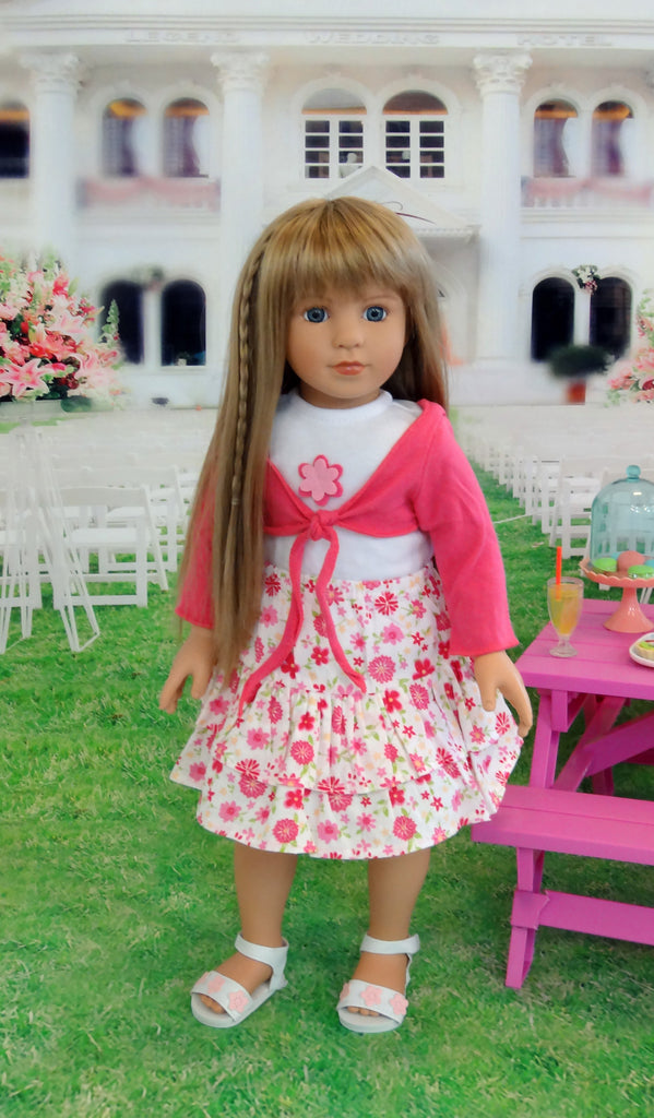 matching doll and girl clothes, 18 inch dolls for sale, Morning Star in Fresh and Fun Halter Sweater and Skirt