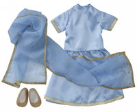 18 inch american doll accessories with cheap price, Sky-Blue Indian Sari