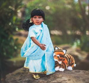 "Buy 18 inch doll in sky blue color with tiger cat accessories. Wandering Star 18"" Doll with Tiger-Cat Accessory"