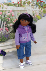 "18 inch american doll sporty look accessories, Wandering Star 18"" Doll in Sporty Purple Warmup"