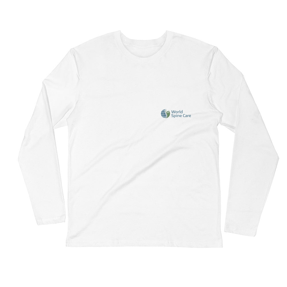Long Sleeve Fitted Crew - White