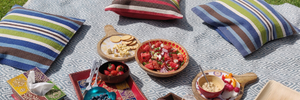 Summer picnic in the garden with rugs, cushions and wooden reusable bowls and platters