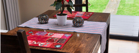 Table Runners, hand wove, hand embroidered...Fairtrade