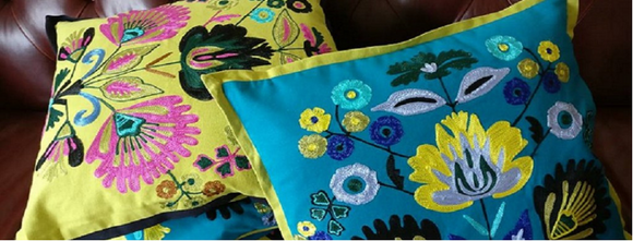 Embroidered cushion covers in lime & turquoise