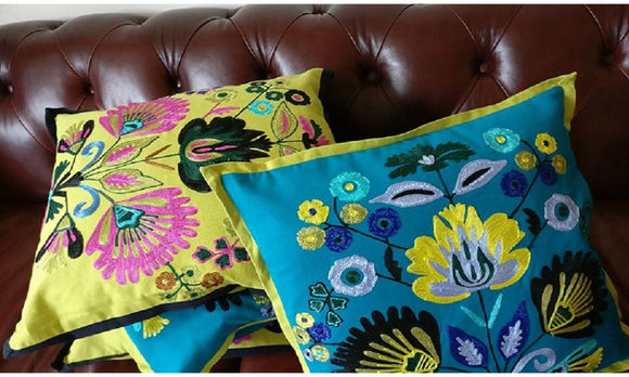 Embroidered cushion covers in Turquoise & Lime