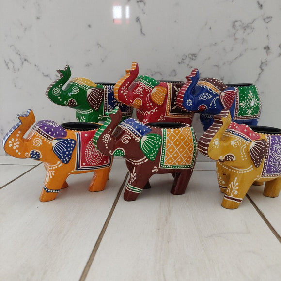 Handpainted Elephant Tealight Holder