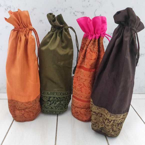 Reusable Bottle Bags  - Repurposed Silk