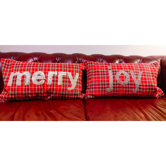 Red Tartan embroidered cushion covers, Cushion Covers,- Boho Homes