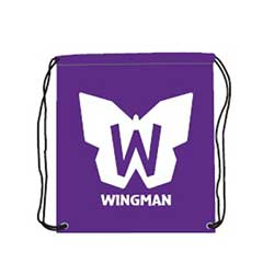 Wingman Drawstring Bag, Purple