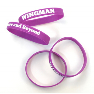 "Wingman ""Go Above and Beyond"" Wristband, Purple, 50/ Pack"