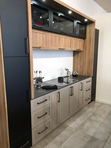 Wood and navy blue contemporary kitchen cabinet evos boutiques