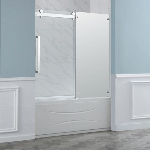 "Stanford 60"" Chrome Mirror Overbath Doors - OVERSTOCK SPECIAL"