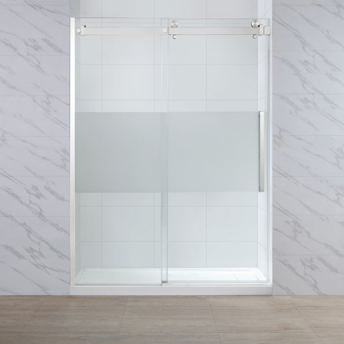 "Stanford Frosted Glass Tempered Satin Shower Panels 60"" - OVERSTOCK SPECIAL"