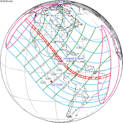 Map of the Path of the Annular Solar Eclipse of October 14th, 2020