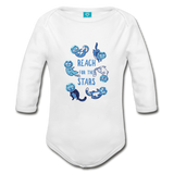 Organic Long Sleeve Baby Bodysuit Reach for the Stars - white