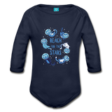 Organic Long Sleeve Baby Bodysuit Reach for the Stars - dark navy