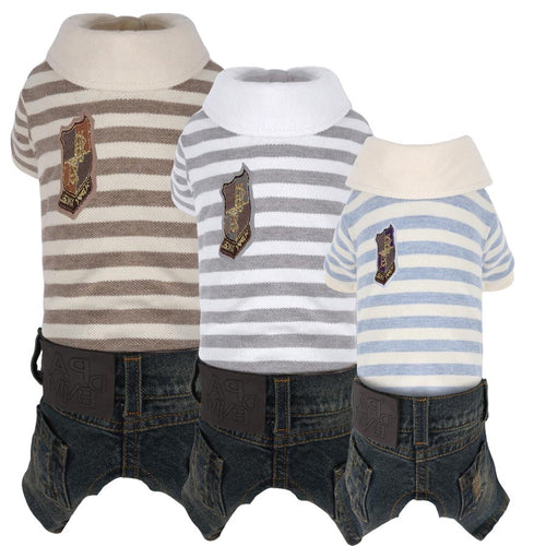 Puppy Angel Striped Polo with Jeans pants All-in-One Overall PA-OR169